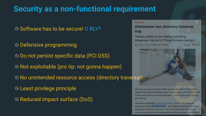 Security as a non-functional requirement