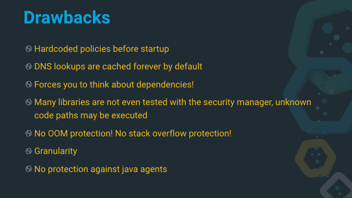 Java Security Manager Drawbacks